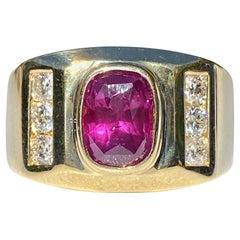 2.70 Carat Oval-Cut Purplish Red Ruby and Diamond 14 Karat Men's Ring