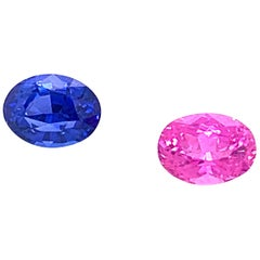 2.70 Carat Oval Shaped Blue and Pink Sapphire, Pair