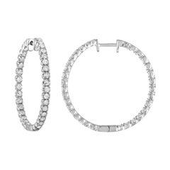 2.70 Carat Round Diamond Earrings in 14 Karat White Gold