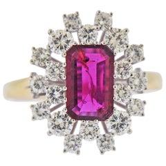 2.70 Carat Ruby Diamond Gold Cluster Ring