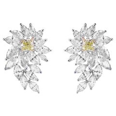 2.70 Carat Soothing Yellow and White Diamond Designer Wings Earring