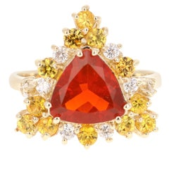 2.70 Carat Trillion Cut Fire Opal Diamond 14 Karat Yellow Gold Cocktail Ring