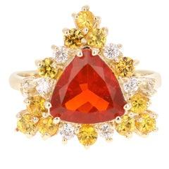 2.70 Carat Trillion Cut Fire Opal Diamond 14 Karat Yellow Gold Cocktail Ring