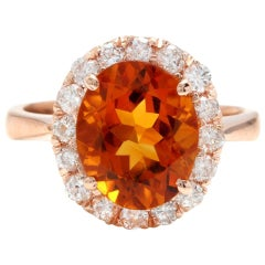 2.70 Ct Exquisite Natural Madeira Citrine and Diamond 14K Solid Rose Gold Ring
