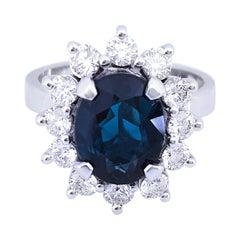2.70 Karat Oval Cut Indigo-Blue Tourmaline White Diamond Ballerina Cocktail Ring