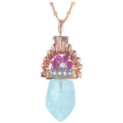 27.00 Carat Aqua Antique Retro Art Deco Rose Gold Ruby Diamond Pendant Necklace