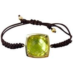 27.03 Carat Lemon Citrine Flexible Bracelet in 14 Karat Yellow Gold