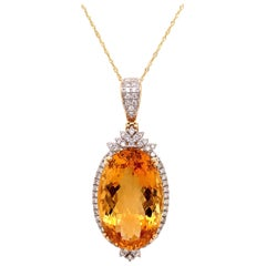 27.04 Carat Citrine Diamond Pendant Necklace