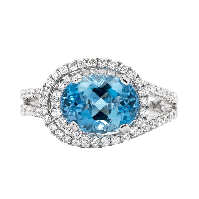 2.70ct Aquamarine and Diamond Cluster 18 Carat White Gold Swirl Dress Ring