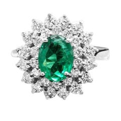 2.70ct Natural Emerald & Diamond 14k Solid White Gold Ring