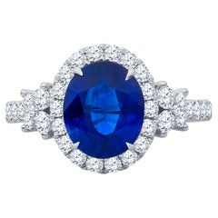 2.70ct Oval Natural Blue Sapphire Ring AGL Certified .84ctw Diamonds 18k W Gold
