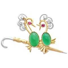 2.71 Carat Chrysoprase Diamond and Ruby 18k Yellow Gold Brooch