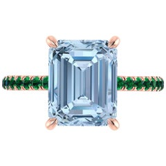 4.61 Carat Emerald Aquamarine Pave Emeralds 18 Karat Rose Gold Cocktail Ring