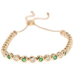 2.71 Carat Emerald Diamond Bracelet 14 Karat Yellow Gold