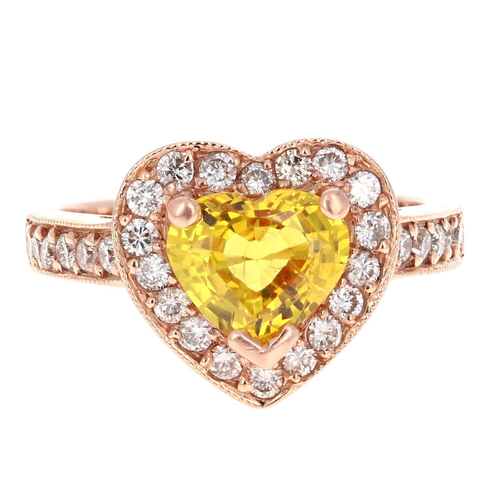 2.71 Carat Heart Cut Yellow Sapphire Diamond Engagement Ring