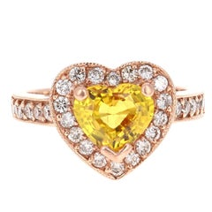 2.71 Carat Heart Cut Yellow Sapphire Diamond Engagement Ring