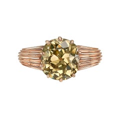 2.71 Carat Old Mine Brown Diamond Solitaire Ring