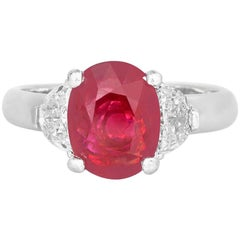 2.71 Carat Oval Shaped Ruby and Diamond Ring