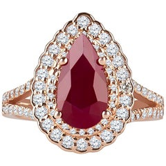 2.71 Carat Pear Shape Ruby with 0.96 Carat Round Brilliant Diamonds in Halo Ring