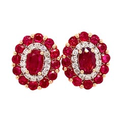 2.71 Carat Ruby Rose Gold Stud Earrings