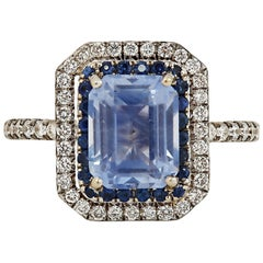 2.71 Carat Unheated Light Blue Sapphire and Diamond Double Halo Ring