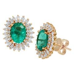 2.71 Carat Zambian Emerald and 1.69 CT Diamonds in 14K Rose Gold Stud Earrings