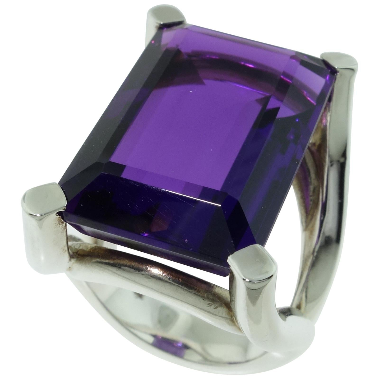 27.11 Carat Amethyst Solitaire Sterling Silver Ring Estate Fine Jewelry