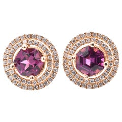 2714 Karat Yellow Gold Rhodalite Garnet and Diamond Stud Earrings
