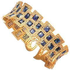 27.17 Carat Blue Sapphire Art Deco Style Mosaic Coomi Cuff Bracelet