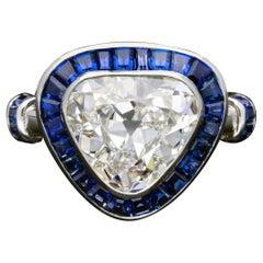 Hancocks 2.71carat Rare Old Mine Triangular Cut Diamond  Sapphire Ring