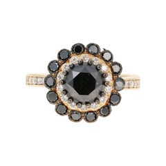2.72 Carat Black and White Diamond 14 Karat Yellow Gold Engagement Ring