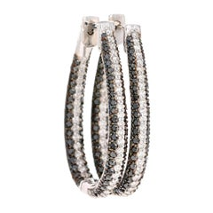 2.72 Carat Black Diamond Hoop Earrings 14 Karat White Gold