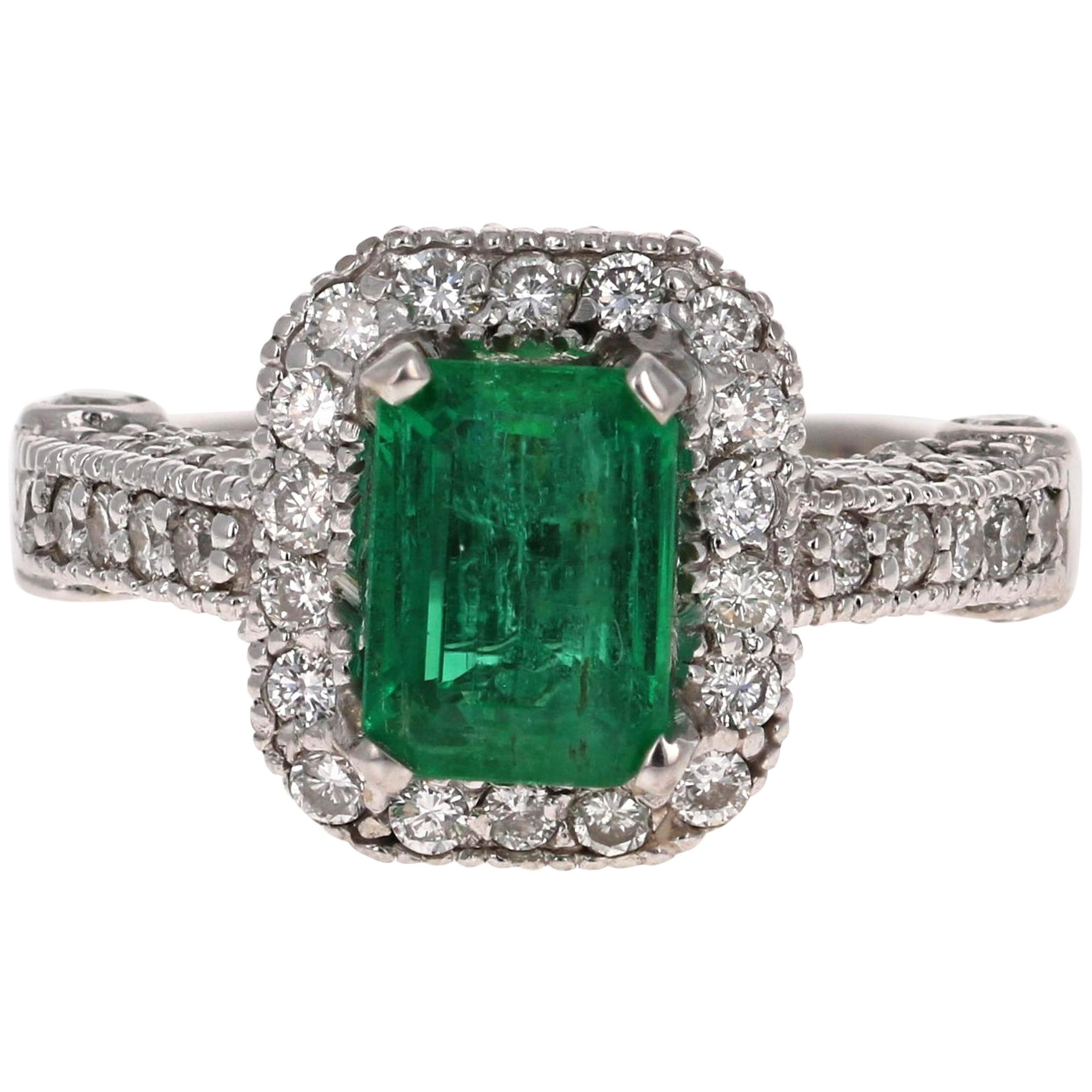 2.72 Carat Emerald Diamond 14 Karat White Gold GIA Certified Ring