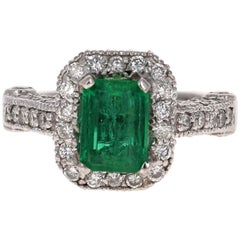 2.72 Carat Emerald Diamond 14 Karat White Gold GIA Certified Ring