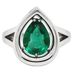 2.72 Carat Pear Shaped Emerald Platinum Ring