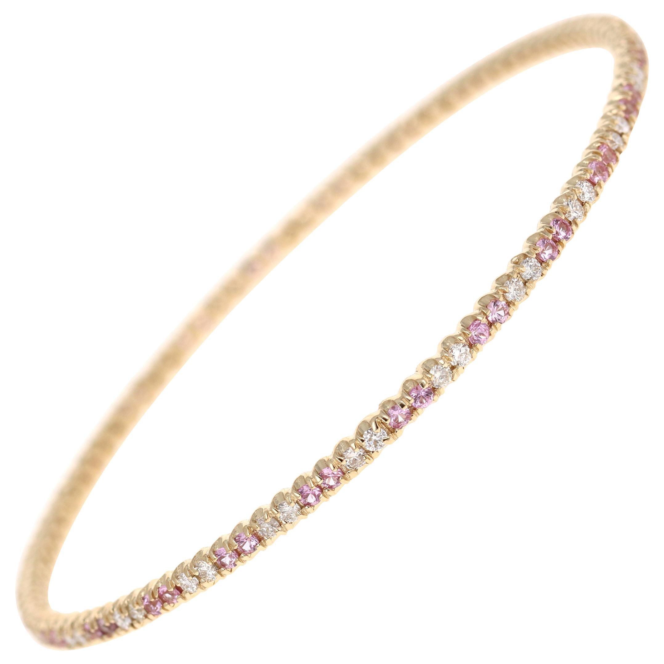 2.72 Carat Pink Sapphire Diamond 14 Karat Yellow Gold Eternity Bangle