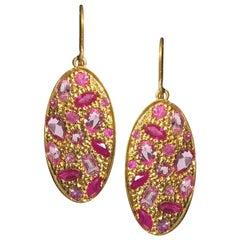 2.72 Carat Pink Sapphire Gold Oval Earrings by Lauren Harper