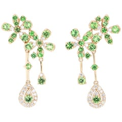 2.72 Carat Tsavorite Diamond 14 Karat Yellow Gold Earrings