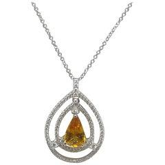 2.72 Carat Yellow Sapphire and Diamond 18 Karat White Gold Pendant
