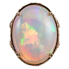 27.20 Carat Opal and Multicolored Sapphire Cocktail Ring