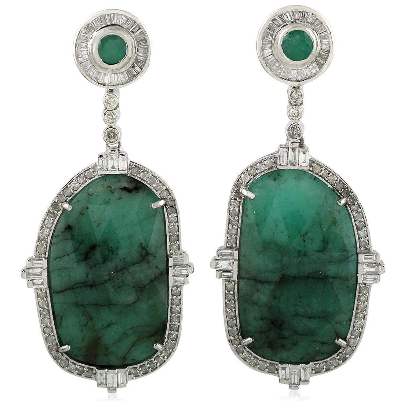 27.25 Carat Emerald Diamond Earrings