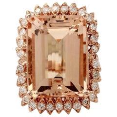 27.25 Carat Natural Morganite and Diamond 14 Karat Solid Rose Gold Ring
