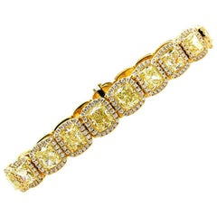 27.28 Carat Fancy Yellow Radiant Diamond Line Tennis Bracelet Yellow Gold