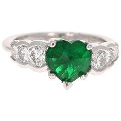 2.73 Carat Heart Cut Emerald Diamond Platinum Engagement Ring