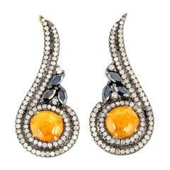 Jade Spinel Diamond Ear Cuff Earrings