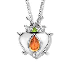 2.73 Carat Mandarine Garnet 18 Karat Lucky Beetle Diamond Necklace