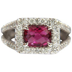 2.73 Carat Natural Bright Pink Tourmaline Diamond Ring Split Shank 14 Karat