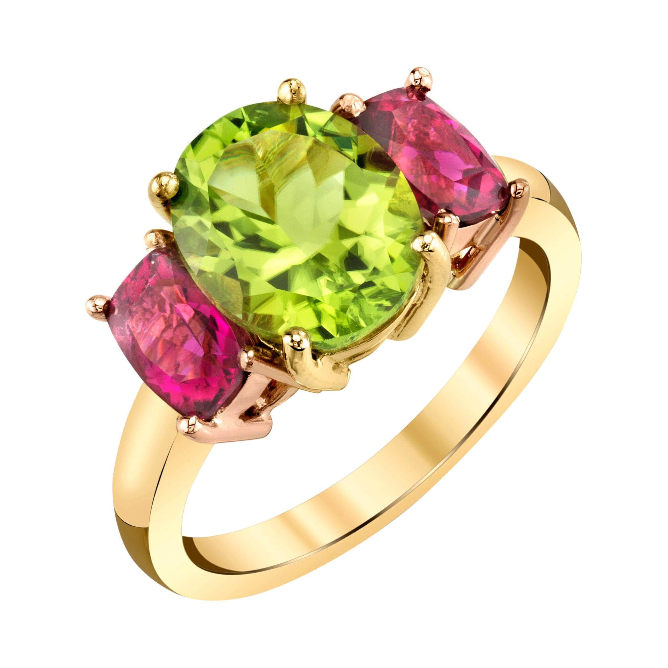 2.73 Carat Peridot & Tourmaline, Yellow & Rose Gold 3-Stone Cocktail Ring