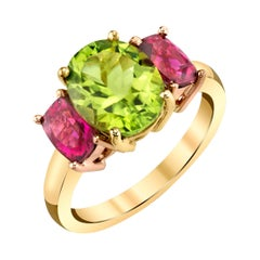2.73 Carat Peridot & Tourmaline 18k Yellow & Rose Gold 3-Stone Cocktail Ring