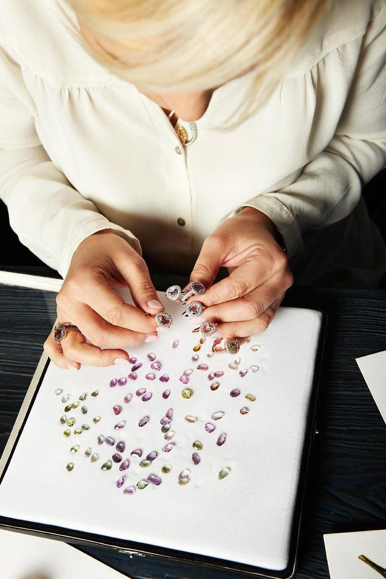 Rose Cut 2.73 Carat Pink and Yellow Sapphire 18 Karat Two-Stone Diamond Bangle For Sale